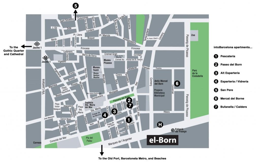 Map of El Born area of Barcelona